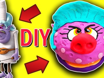 Trolls Movie DIY Play-Doh Bergen Chef Crafts for Kids! Learn Colors, Drill N Fill Faces How To Video