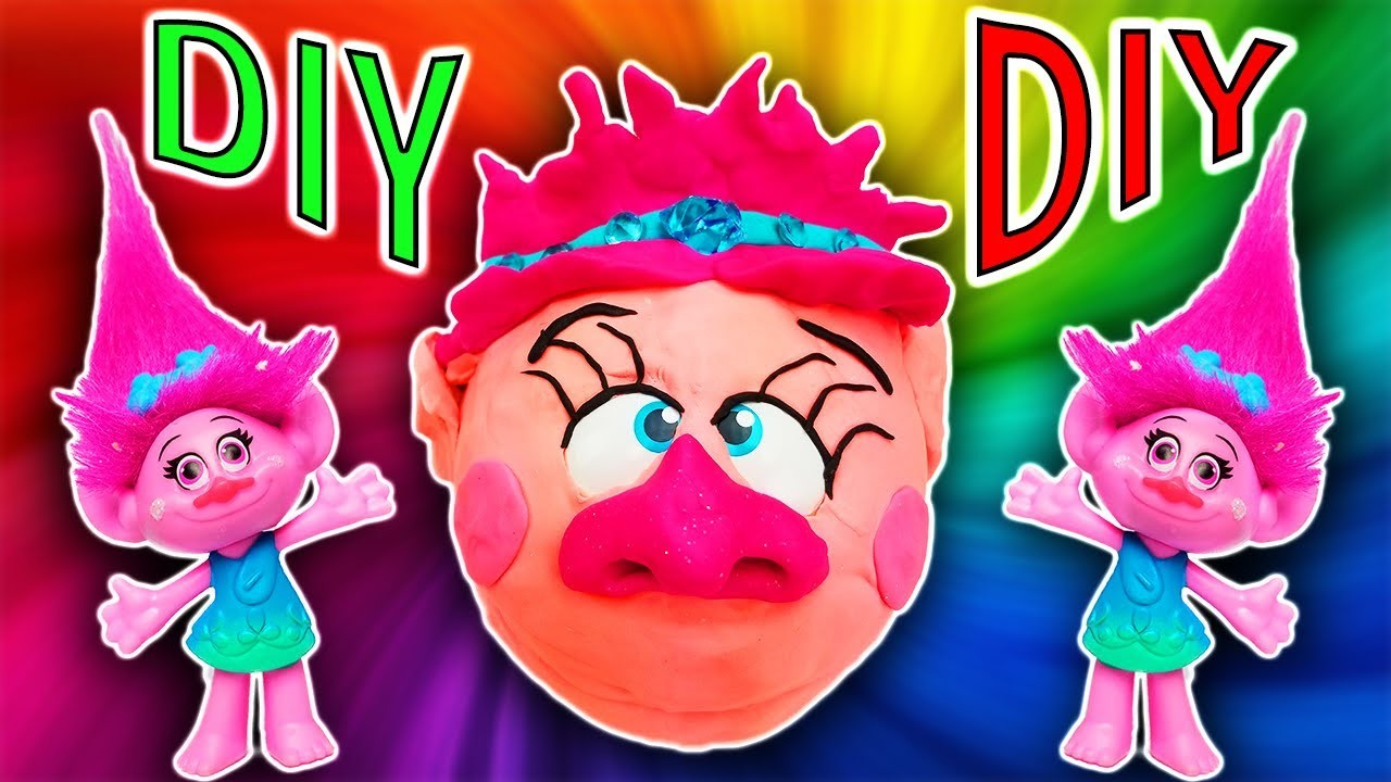 Trolls Movie DIY Play-Doh Poppy Crafts For Kids! Learn Colors Drill N Fill Faces How To Video