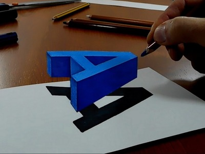 Try to do 3D Trick Art on Paper, floating letter A, Long Version