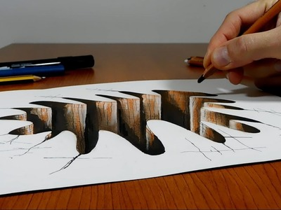 Try to do 3D Trick Art on Paper , Hole, Long Version