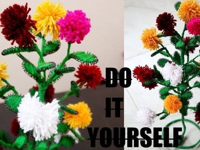 Woolen Marigold  Flower | Make Flower Plant with Wool & Wire | DIY | Creative Craft