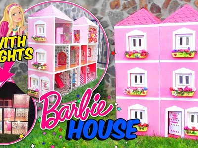 BARBIE DOLLHOUSE MADE WITH CARDBOARD BOX WITH LIGHTS - CRAFTS FOR KIDS DIY