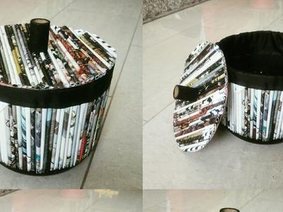 "DIY- Best Out Of Waste ""Resycled Basket""Room decor idea"