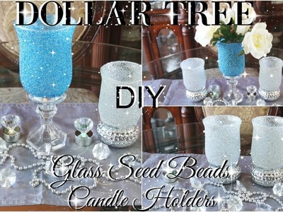 DIY DOLLAR TREE BLING  GLASS BEADS CANDLE HOLDERS | PETALISBLESS ????