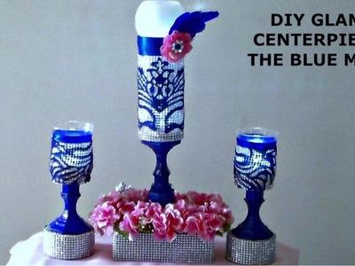 DIY DOLLAR TREE GLAM CENTERPIECE.THE BLUE MASK