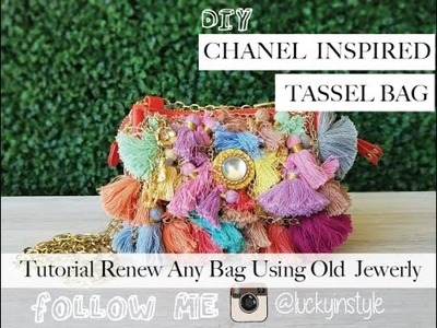 DIY EASY Chanel Inspired Tassel Bag Revamp How to Repurpose Old Jewelry