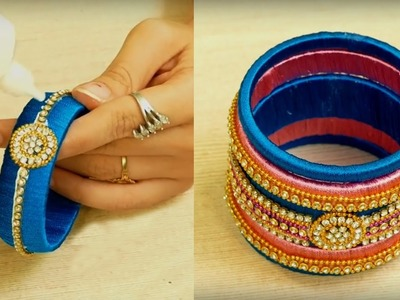 DIY | How to make designer Bridal Silk thread bangles at Home | DIY Silk thread jewellery tutorials