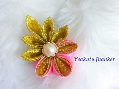 DIY: Kanzashi ribbon brooch. hair clip