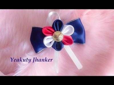 DIY: Kanzashi ribbon flower on a bow (Hair clip.Brooch)