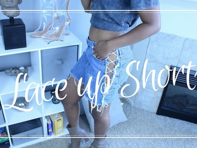 DIY- Lace up and Distressed Denim Shorts