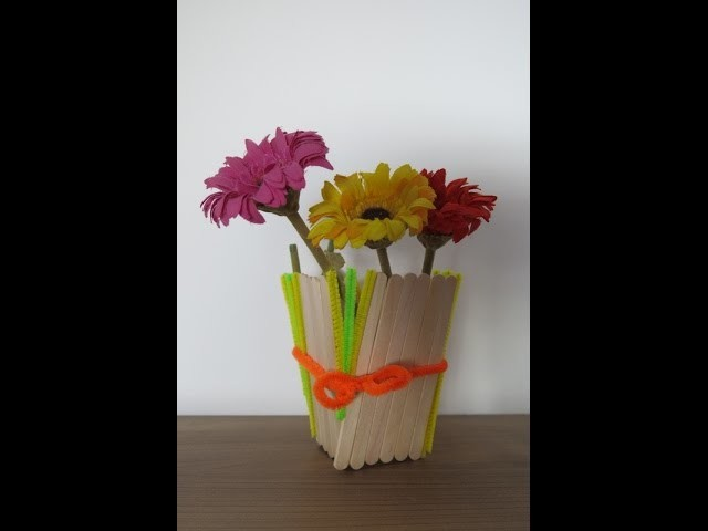 DIY Learn to Make a Flower Vase from Popsicle Sticks. Easy Crafts for Spring.