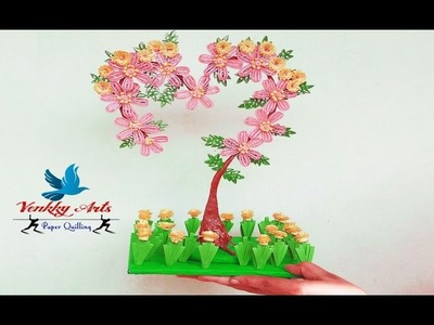 DIY   Paper quilling  heart shaped tree decoration with flowers   Paper Quilling Art