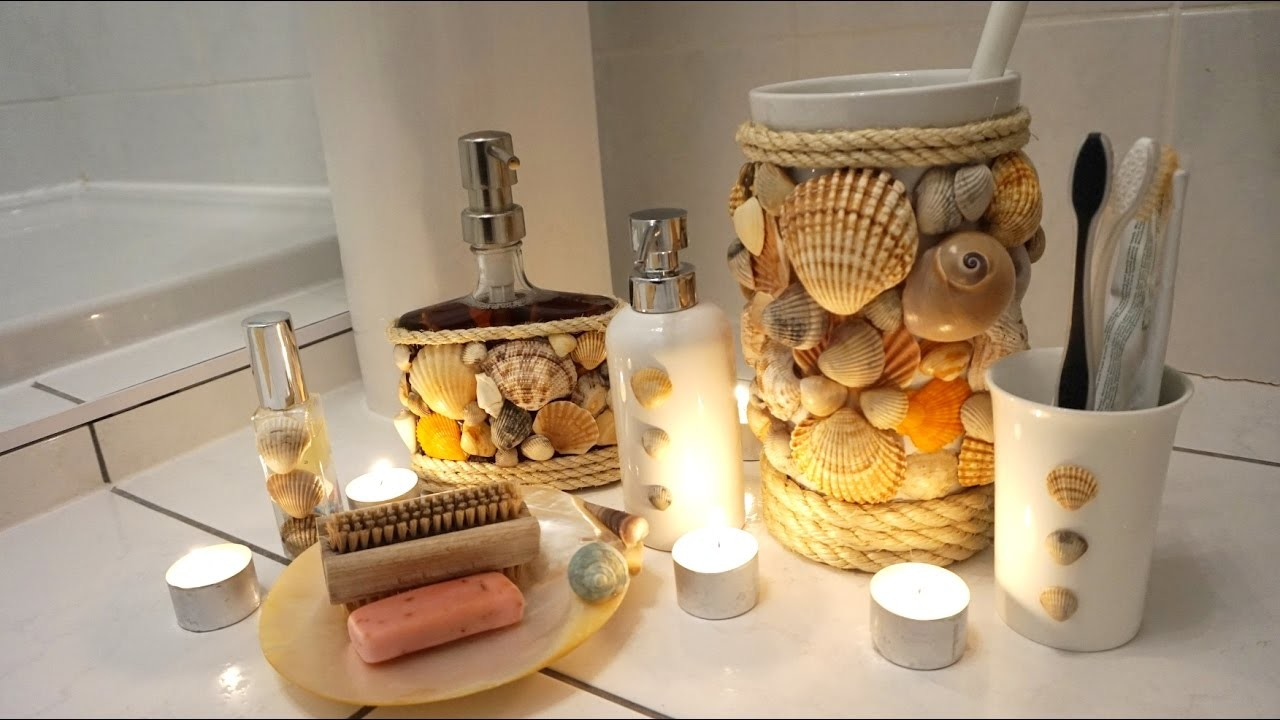Decorative Bathroom Accessories For Hotel Project: DIY Project Bathroom Accessories Real Shells Shower Gel