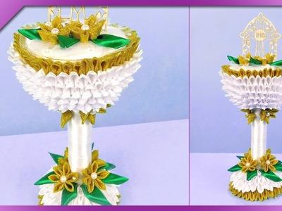DIY Ribbon, kanzashi communion chalice (ENG Subtitles) - Speed up #347