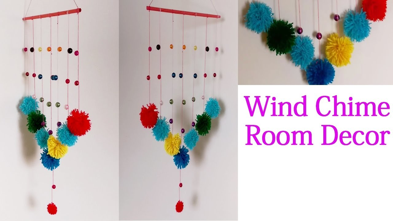 DIY Wind Chime Room Recor  - Pom Poms Wall Hanging Crafts #DIYWindChimes