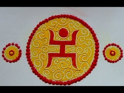 Easy swastik rangoli designs with paper cutting. Kolam designs with paper. muggulu designs