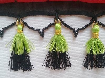 How to make double colour saree kuchu l DIY l silkthread saree tassels l saree kuchu design # 25