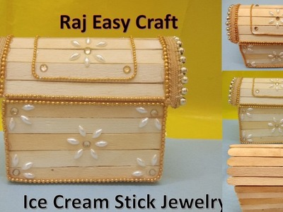 How to make Ice Cream Stick Jewelry Box | popsicle stick crafts |DIY