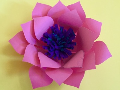 How to make Lotus flower out of color paper   Paper crafts for home decoration