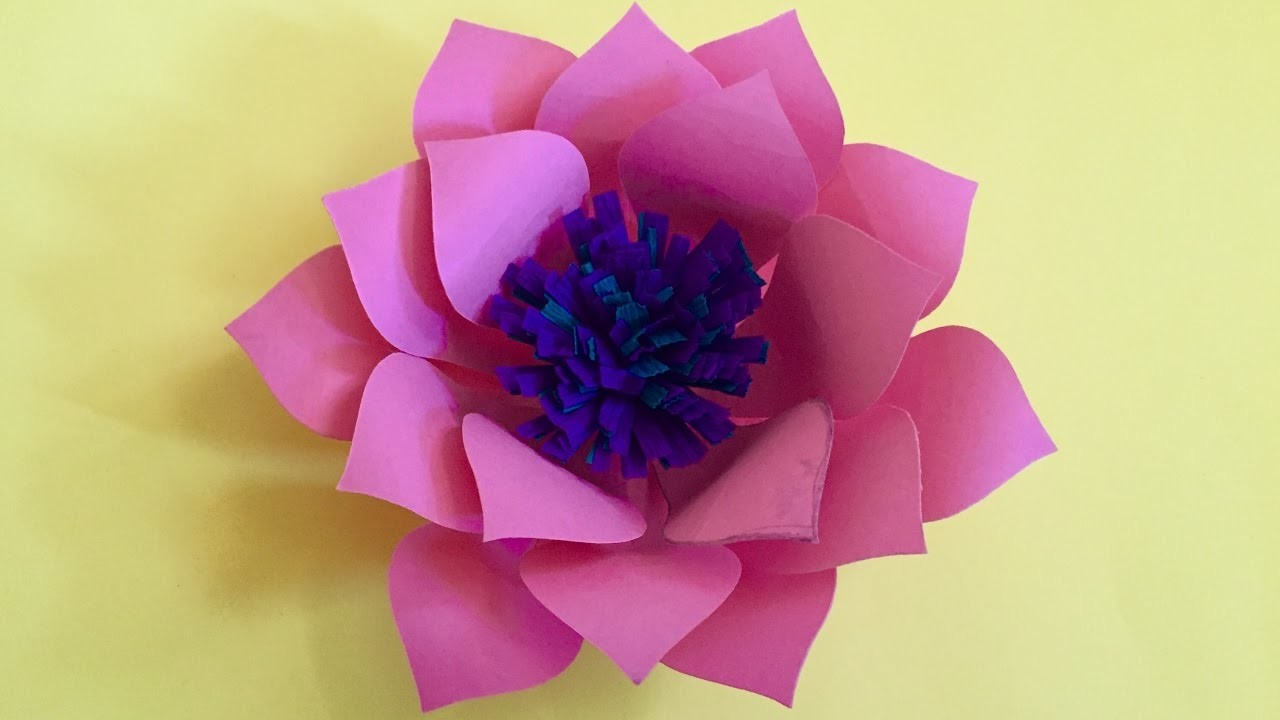 How To Make Lotus Flower Out Of Color Paper Paper Crafts For Home