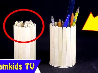 Make a Pencil Jar with Popsicle Sticks - Handmade - DIY Crafts - Creative with Ice-cream Sticks