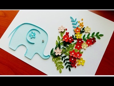 Paper Quilling Flower For beginner Learning Video 27. Paper Flower Card. Thank you card!