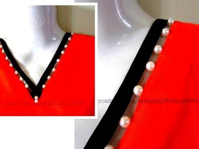 Pearl  V Shape Neckline Making for Tops | Kameez | Kurti | DIY