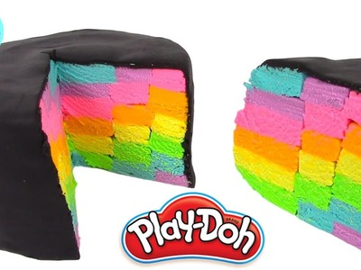 Play Doh Cake and Ice Cream Confections Black Rainbow cake Learning Diy Plastilina y Juguetes Castle