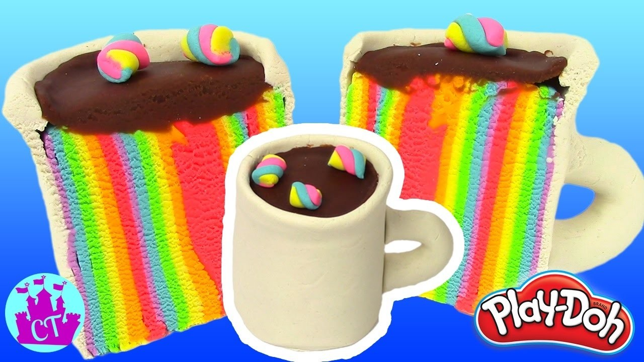 Play Doh Cake and Ice Cream Confections Rainbow Cup Learning Diy Plastilina y Juguetes Castle Toys