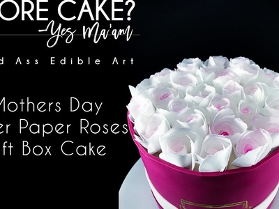 Wafer Paper Roses Gift Box Mothers Day Cake