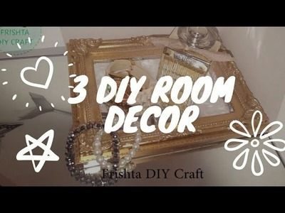 3 DIY Gold Room Decor Idea | dollar tree room decor | Makeup Table Mirror | Upcyle picture frame