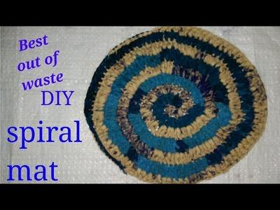 DIY Beautiful and easy spiral design mat कैसे बनाये सर्पिलाकार आसन. पायदान