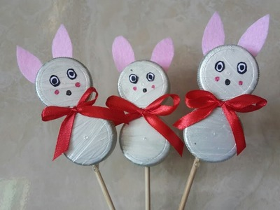 DIY Bottle cap bunnies #easy crafts #use for kids birthday decoration