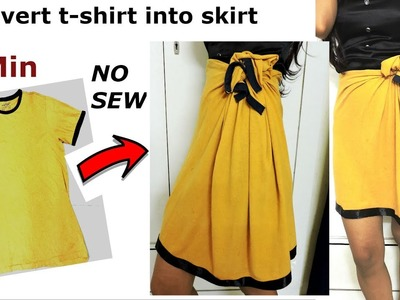 DIY: Convert.Reuse.revamp old Men's T-Shirt into girl's Skirt. 2 min work.No Sew
