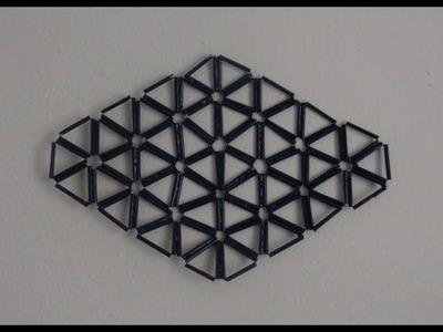 DIY Diamond Shape Wall Decor Made With Drinking Plastic Straws