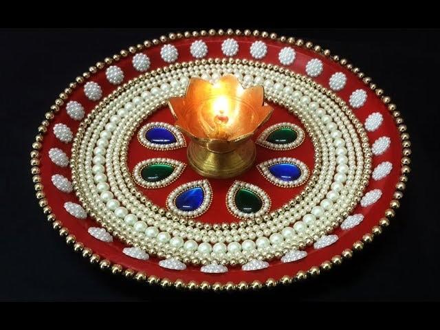 Diy Diwali Puja Thali Decoration Handmade Thali For Raksha Bandhan Decorated Rakhi For Weddings