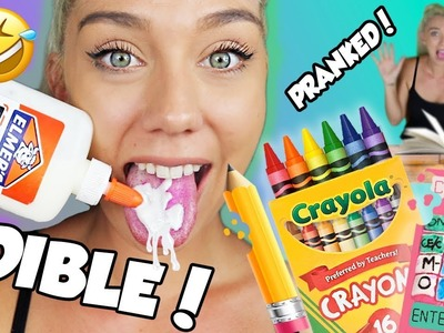 DIY EDIBLE SCHOOL SUPPLIES!! Pranks For Back To School 2017! Eat Your Pencil, Calulator And MORE!