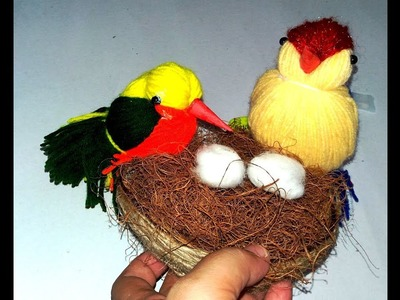 ||DIY HOME DECOR|| HOW TO MAKE WOOLEN BIRD WITH NEST||