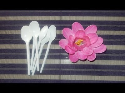 DIY _ Lotus flower made by plastic spoon