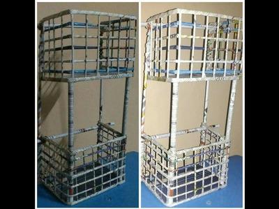 DIY Newspaper wall mount rack    Newspaper rack