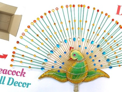 DIY Peacock Wall Decor | Best Out Of Waste From Cardboard Box | Ideas for Living Room By Maya !