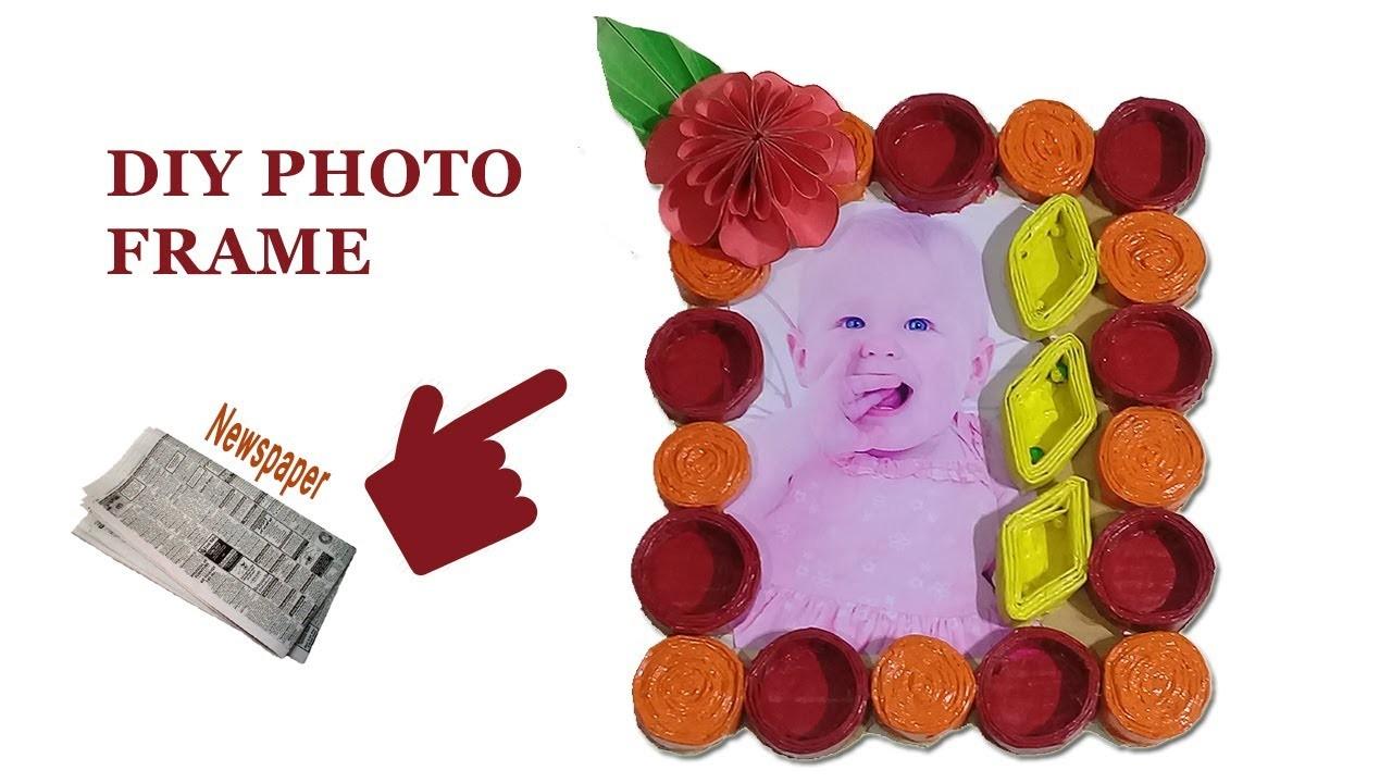 DIY PHOTO FRAME, Best Out of Waste Newspaper Photo Frame