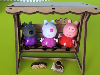 DIY Play-Doh Learn Make Bench Swing Wood Miniature Cat Book Toy Soda