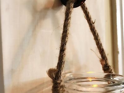 DIY Rustic Hanging Jar Candle Lantern    Rustic Farmhouse Decor    Home Decor