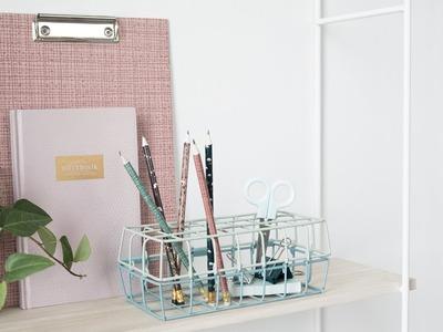 DIY : Wire basket storage for your desk by Søstrene Grene