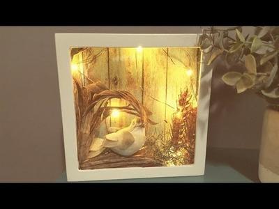 Dollar Tree DIY LED Light up Shadow Box. Super cute & easy