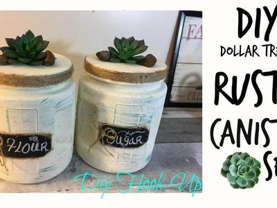 DOLLAR TREE DIY | RUSTIC CANISTER SET