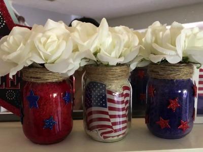 Dollar Tree Patriotic Mason Jars DIY + 4th Of July Home Decor