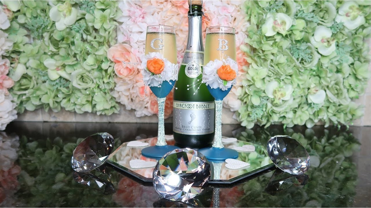 How to DIY Wedding Champagne Flutes | Shabby Chic Teal and Silver