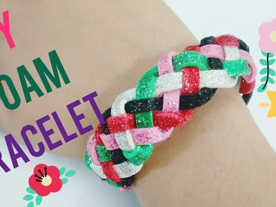 No Sew Easy DIY MultiColored glitter Foam sheet Friendship bracelet (band).RAKHI Bracelet